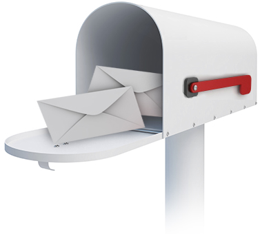 Image of an open mailbox showing envelopes inside.